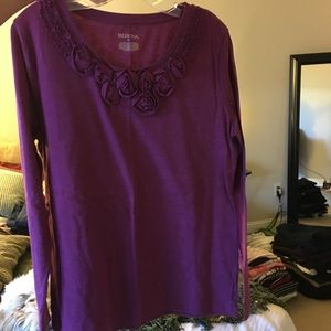 Merona XL purple flower blouse